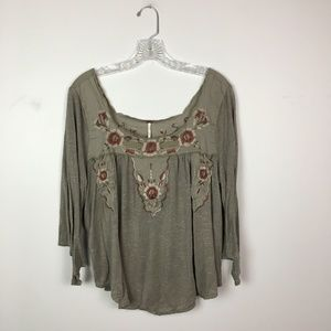 Free People embroidered bell sleeve blouse size M
